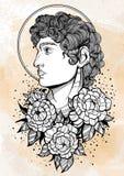 Pociągany ręcznie piękny portret David z peonią kwitnie wokoło Starożytnych Grków bóg Dawność, mitologia, tatuaż sztuka, druki ilustracja wektor