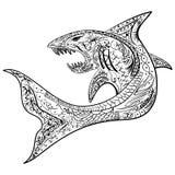 Pociągany ręcznie rekin z etnicznym doodle wzorem Obraz Stock