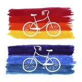 Pociągany ręcznie retro stylowy bicykl adobe korekcj wysokiego obrazu photoshop ilości obraz cyfrowy prawdziwa akwarela Editable  ilustracji
