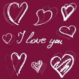Pociągany ręcznie serca i kaligrafia kocham ciebie ilustracji