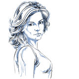 Pociągany ręcznie wektorowa ilustracja piękna ufna kobieta Fotografia Stock