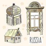 Pociągany ręcznie wektorowi elementy rosyjskie budy Kultura, sposób życia, tradycje Rosjanin stylowa ilustracja ilustracji