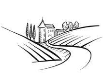 Pociągany ręcznie wektorowy ziemi uprawnej nakreślenie royalty ilustracja