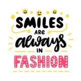 Pociągany ręcznie zwrot: Uśmiechy są zawsze wewnątrz modą royalty ilustracja