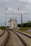 Pociągu dworzec i ślada zdjęcie royalty free
