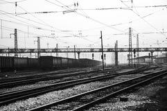 Pociąg i stacja kolejowa fotografia royalty free