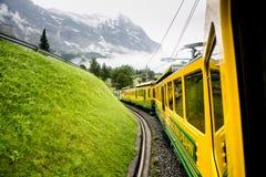Pociąg przez obszarów trawiastych i góry Obrazy Royalty Free