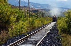 Pociąg przez obszaru wiejskiego Zdjęcia Royalty Free