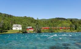 Pociąg w górach Zdjęcia Royalty Free