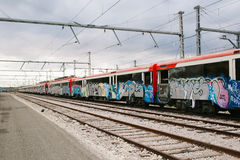 Pociąg z graffiti Zdjęcie Stock