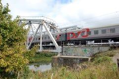 Pociąg z Rosyjskim kolei RZD logem Fotografia Royalty Free