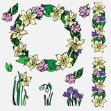 Pociągany ręcznie wiosny kolekcja wektorowe kwieciste ilustracje ilustracja wektor