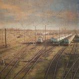 Pociągi. retro stylowa fotografia Obrazy Royalty Free