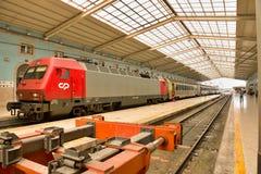 Pociągi w Lisbon przed strajkiem na 26th Listopadzie Zdjęcia Royalty Free