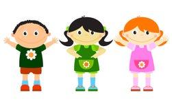 pocieszni dzieciaki ustawiają trzy Zdjęcia Royalty Free