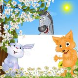 Pocieszni zwierzęta z plakatem Zdjęcia Royalty Free