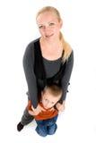 Pocieszny portret potomstwa macierzyści i jej syn Obraz Stock