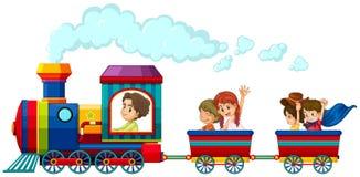 Pociąg i dzieci Zdjęcia Royalty Free