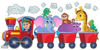 Pociąg z szczęśliwymi zwierzętami Obrazy Stock