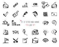 Pociągany ręcznie nakreślenie sieci ikona ustawia - biuro, gospodarka, seo, marketing Obraz Stock
