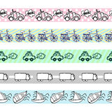Pociągany ręcznie stylów samochodów bezszwowy wzór Obrazy Stock