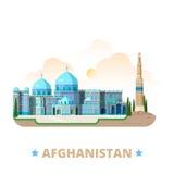 Pocilga plana de la historieta de la plantilla del diseño del país de Afganista