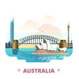 Pocilga plana de la historieta de la plantilla del diseño del país de Australia Foto de archivo libre de regalías