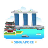 Pocilga plana de la historieta de la plantilla del diseño del país de Singapur Fotos de archivo libres de regalías