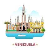 Pocilga plana de la historieta de la plantilla del diseño del país de Venezuela libre illustration