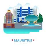 Pocilga plana de la historieta de la plantilla del diseño del país de Mauricio Imagen de archivo libre de regalías