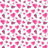 Pociones de amor del ejemplo de la acuarela y corazones rosados stock de ilustración