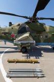 Pocisk wyrzutnia i bronie szturmowy militarny helikopter MI-35M Obrazy Royalty Free
