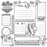 Pociska czasopisma ręka rysujący wektorowi elementy dla notatnika, dzienniczka i planisty, ilustracji