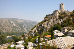 Pocitelj cityscape with an ancient stronghold. Pocitelj is a town in Bosnia and Herzegovina. The historic site of Pocitelj is located on the left bank of the royalty free stock image