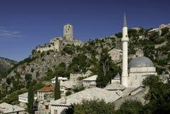 Pocitelj village near mostar in Bosnia Hercegovina. Pocitelj village mosque near mostar in Bosnia Hercegovina Royalty Free Stock Image