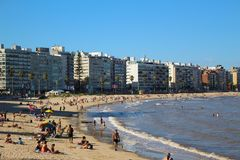 Pocitos beach in Montevideo, Uruguay on a beautiful sunny day royalty free stock image
