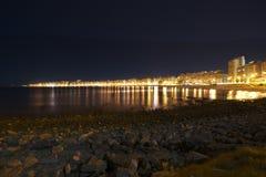 Pocitos, Montevideo. Coast of Rio de la Plata (River Plate) in Montevideo, Uruguay, at night Royalty Free Stock Image