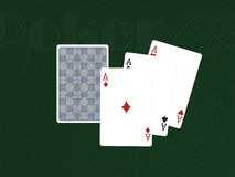 Pocker Cards with three aces Royalty Free Stock Photos