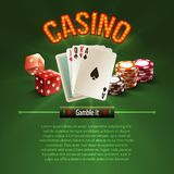 Pocker casino background. Pocker casino gambling set with dice cards chips on green background vector illustration Stock Photography