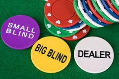 Pocker chips. Showing small blind, big blind and dealer chips royalty free stock photography