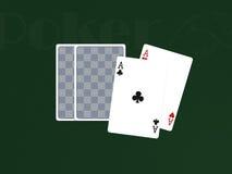 Pocker Karten mit 2 Assen Stockfotografie
