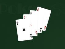 Pocker Karten mit 4 Assen Stockfotografie