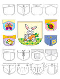 Pocket. Design of pockets for children's clothes with application Royalty Free Stock Images