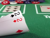 Pocket 2s. A pair of 2s as a starting hand in a game of texas hold'em Royalty Free Stock Photos