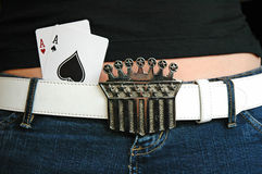 Pocket Aces. Two Aces in the waistband of a girl's jeans Stock Photography