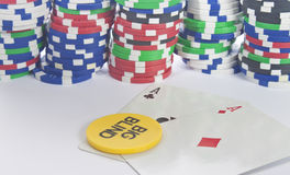 Pocket aces on the big blind button. Some pocket aces with the big blind button Royalty Free Stock Image