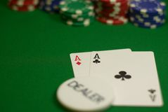 Pocket Aces on the button. Poker Texas Hold`em, Dealer has Pocket Aces; cards and chips on green cloth Stock Image