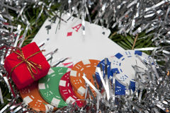 Pocket aces with christmas decoration Royalty Free Stock Images