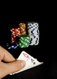 Pocket aces pair for holdem poker. Holdem pocket aces and chips Stock Image