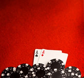 Pocket Aces on Red Felt Stock Images